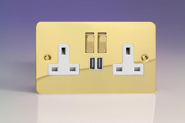Varilight Ultraflat Standard Switched Sockets with USB - Polished Brass (White Inserts) - LED Bulb Centre Ltd