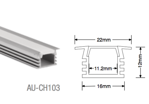 AU-CH103 Aluminium Recessed Profile - LED Bulb Centre Ltd