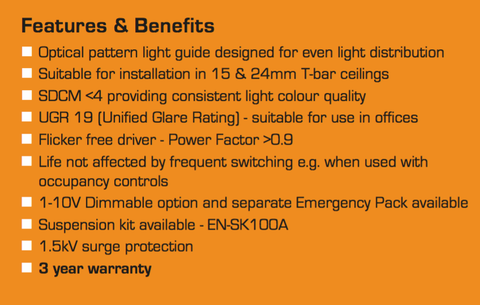 Enlite 40W LED Panel Light 1200 x 300mm - LED Bulb Centre Ltd