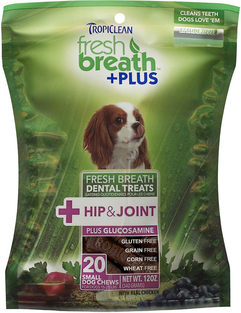 Tropiclean Fresh Breath Dental Treats Plus Hip + Joint Support