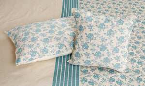 Spring Roses Teal Bedcover