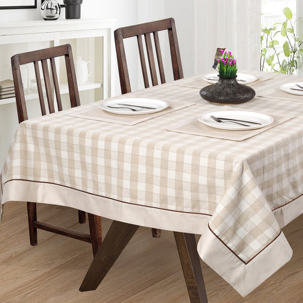 English Check Offwhite Table Cover Set