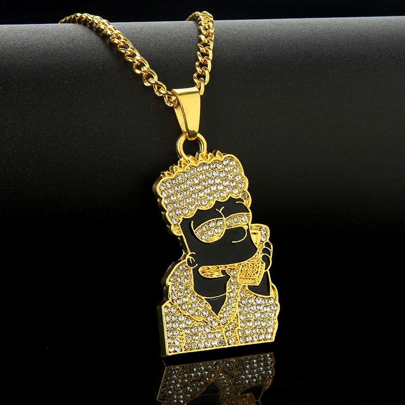 Hip Hop Jewelry Cartoon Simpsons Head Pendant - Necklacescharm