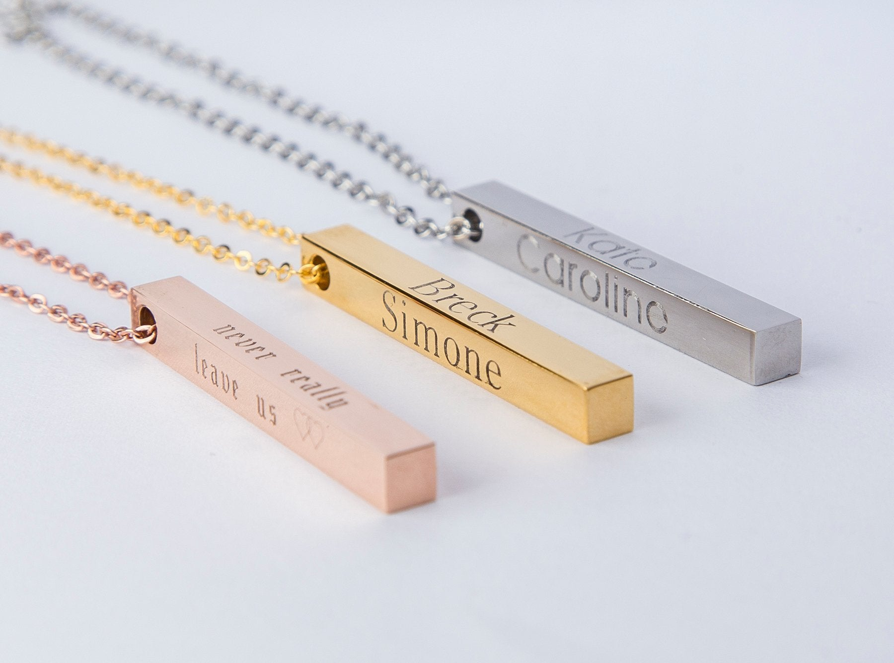 Custom Name Coordinates Vertical Bar Necklace Personalized Gift Mom - Necklacescharm