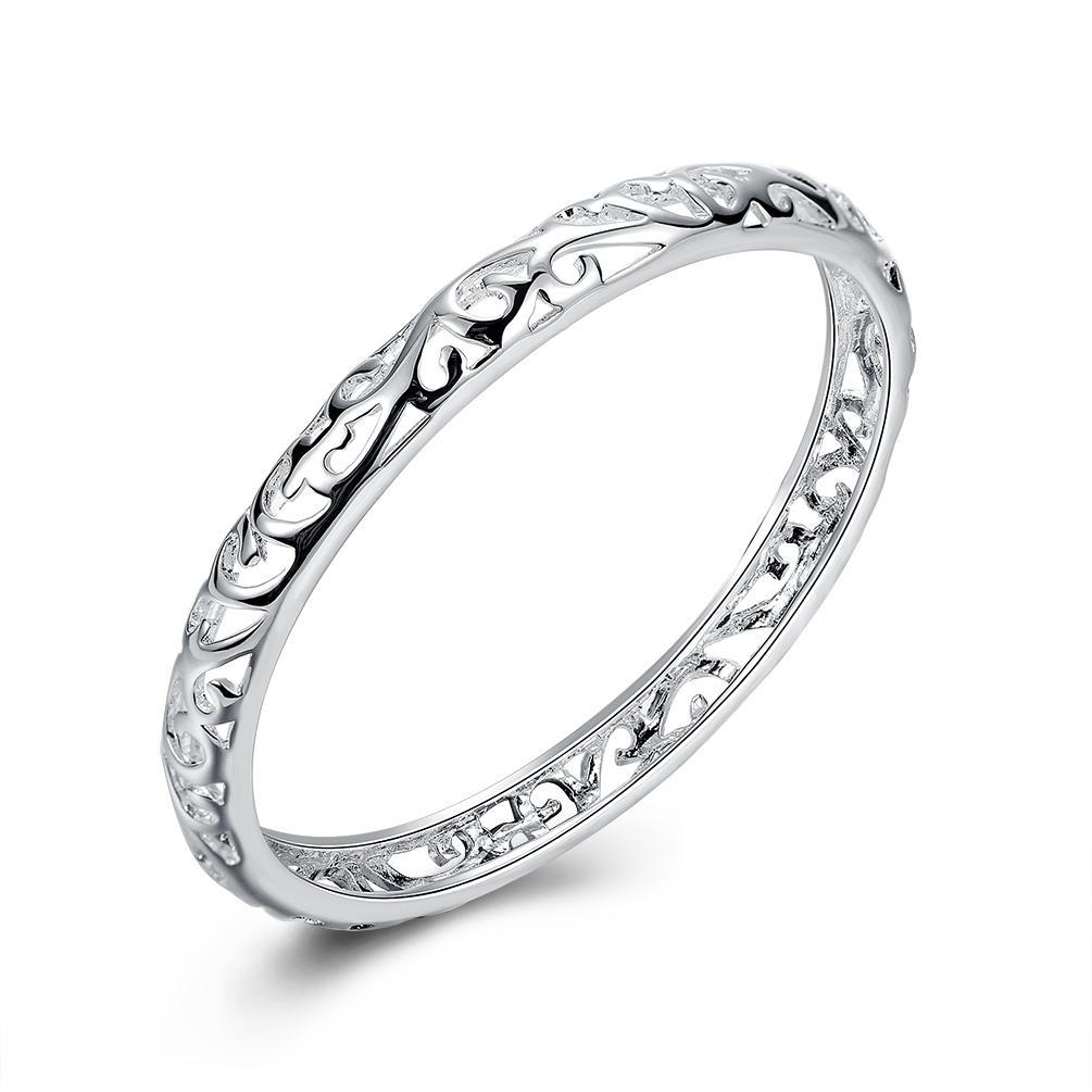Filigree Heart Bangle in 18K White Gold Plated - Necklacescharm
