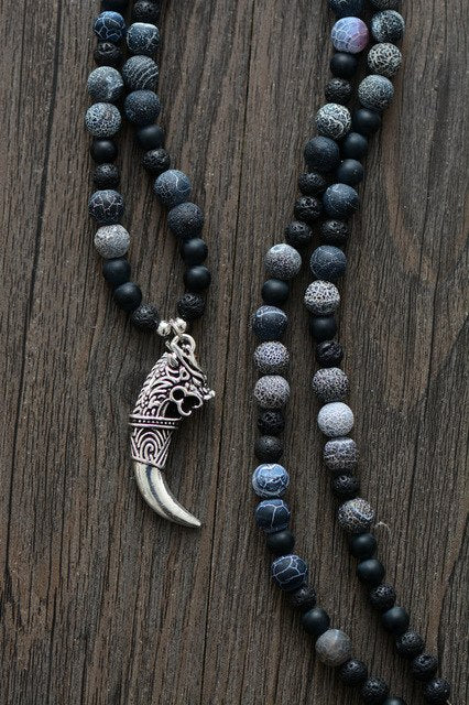 Mens Necklace Matte Onyx Lava Stones with Antique