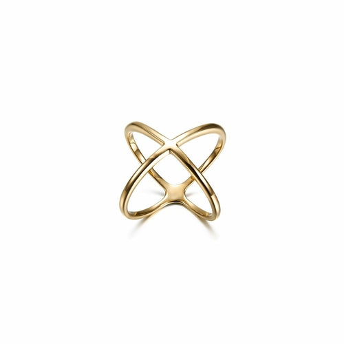 Gold Skinny Crisscross Band Ring - Necklacescharm