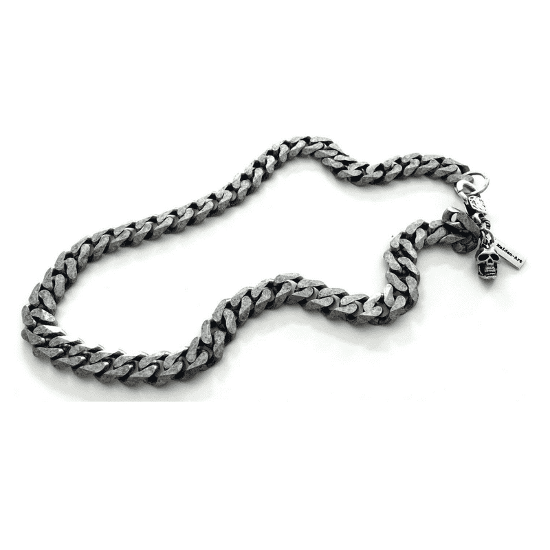 Silver skull and chain mens necklace. Mens gift, - Necklacescharm