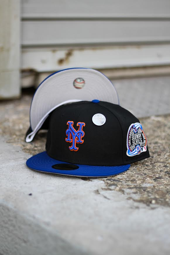 2000 NEW YORK METS BLACK/BLUE FITTED W/ GREY UNDER VISOR
