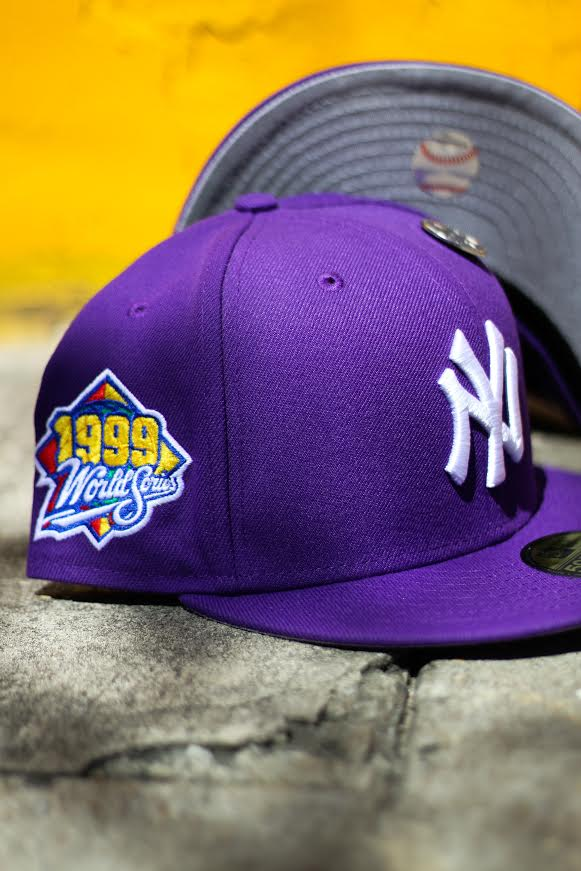1999 NEW YORK YANKEES PURPLE FITTED W/ GREY UNDER VISOR