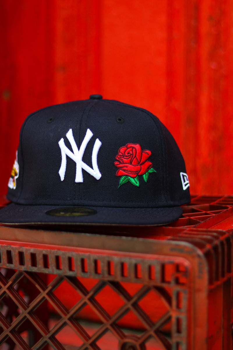 2001 NEW YORK YANKEES NAVY ROSE FITTED W/ GREY UNDER VISOR