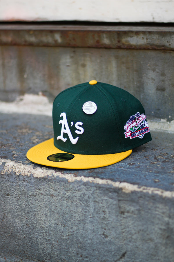 1989 OAKLAND A'S GREEN/YELLOW FITTED W/ GREEN UNDER VISOR