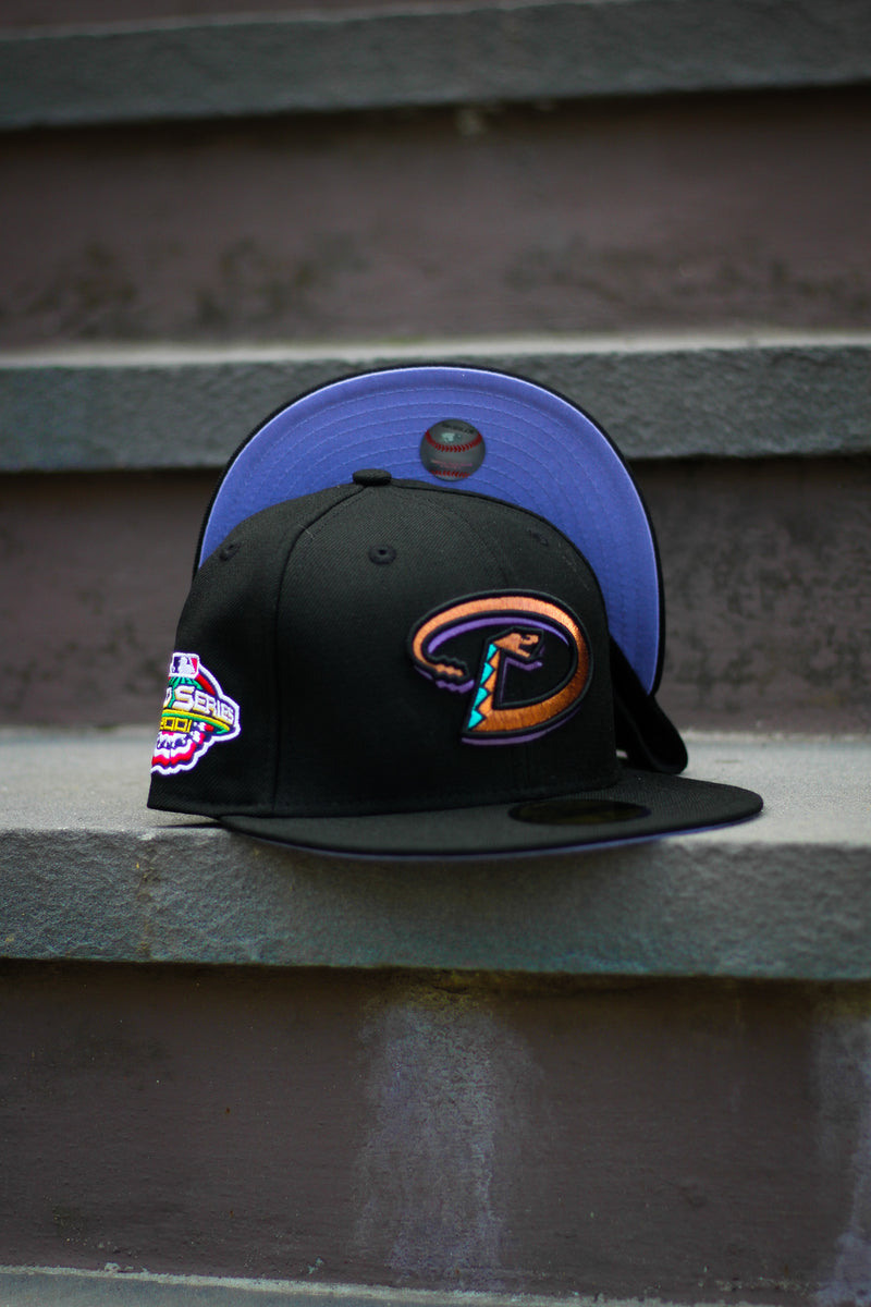 2001 ARIZONA DIAMONDBACKS BLACK FITTED W/ LAVENDER UNDER VISOR