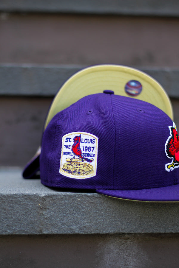 1967 ST LOUIS CARDINALS PURPLE FITTED W/ BUTTER YELLOW UNDER VISOR