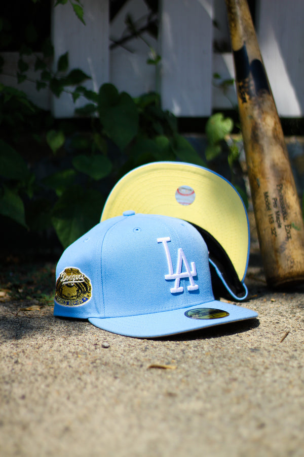 1963 LOS ANGELES DODGERS LIGHT BLUE FITTED W/ BUTTER YELLOW UNDER VISOR