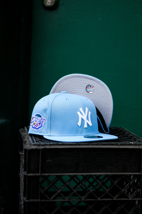 1998 NEW YORK YANKEES LIGHT BLUE FITTED W/ GREY UNDER VISOR