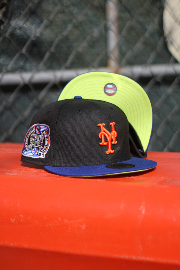 2000 NEW YORK METS BLACK/ROYAL FITTED W/ KIWI UNDER VISOR
