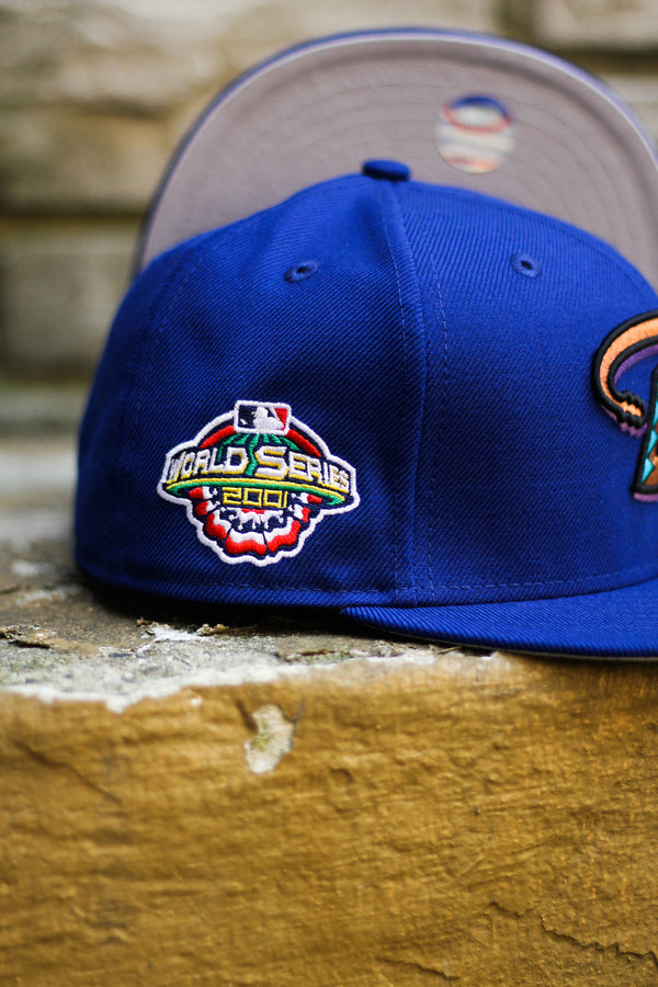 2001 ARIZONA DIAMONDBACKS ROYAL FITTED W/ GREY UNDER VISOR
