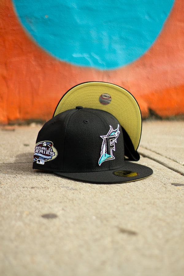 2003 FLORIDA MARLINS BLACK FITTED W/ BUTTER YELLOW UNDER VISOR