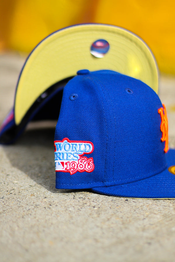 1986 NEW YORK METS ROYAL FITTED W/ BUTTER YELLOW UNDER VISOR