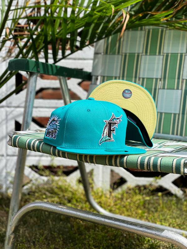 1993 FLORIDA MARLINS TEAL FITTED W/ BUTTER YELLOW UNDER VISOR