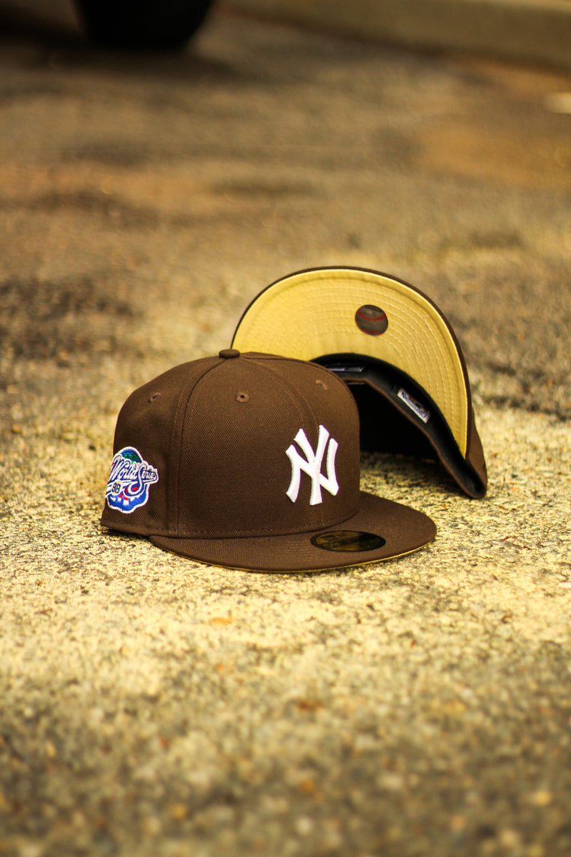 1998 NEW YORK YANKEES BROWN FITTED W/ BUTTER YELLOW UNDER VISOR