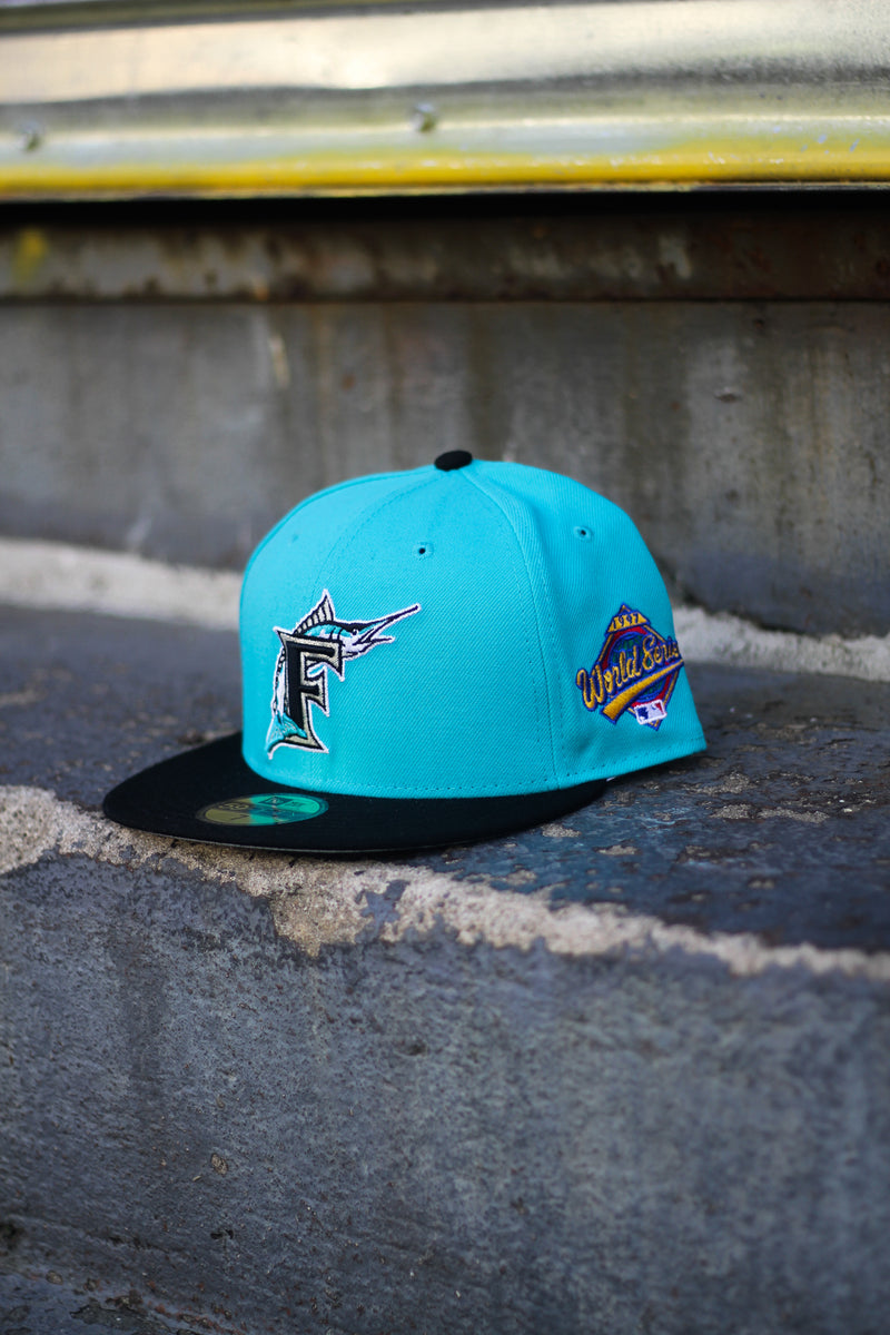 1997 FLORIDA MARLINS TEAL/BLACK FITTED W/ GREY UNDER VISOR
