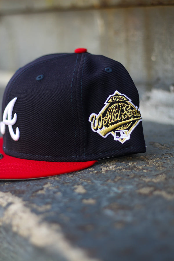 1995 ATLANTA BRAVES NAVY/RED FITTED W/ GREY UNDER VISOR