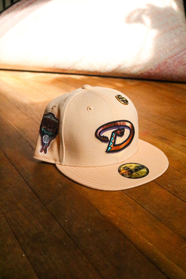 1998 ARIZONA DIAMONDBACKS MANGO MOCHA FITTED W/ GREY UNDER VISOR