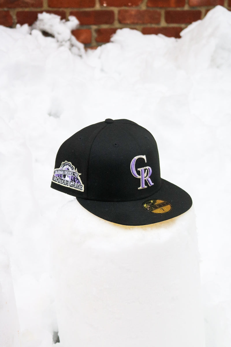1998 COLORADO ROCKIES BLACK FITTED W/ BUTTER UNDER VISOR