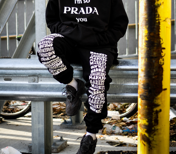 "STACKED LOGO SWEATPANTS ""BLACK"""
