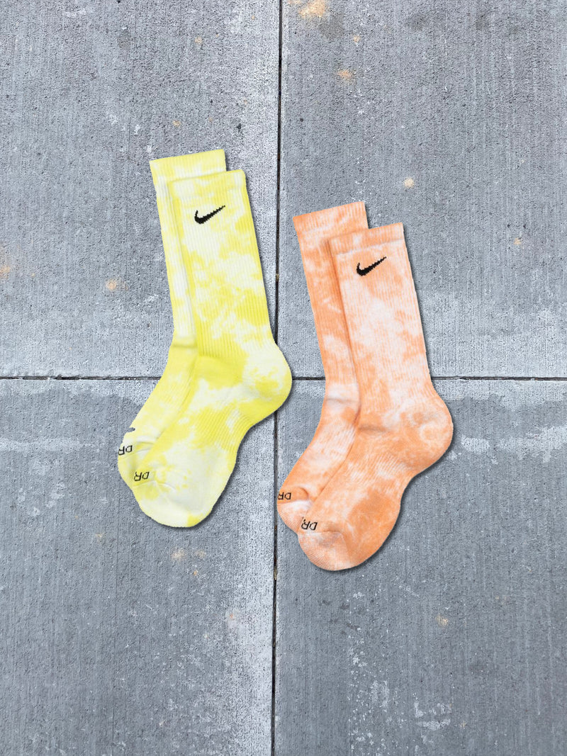 "CUSHIONED TIE-DYE CREW SOCKS ""ORANGE/YELLOW"""