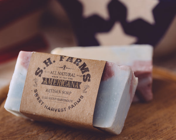 Sweet Harvest Farms Americana Organic Handmade Soap. All natural from scratch. This organic soap will last 8-10 weeks in the shower. We also offer our wholesale organic soap
