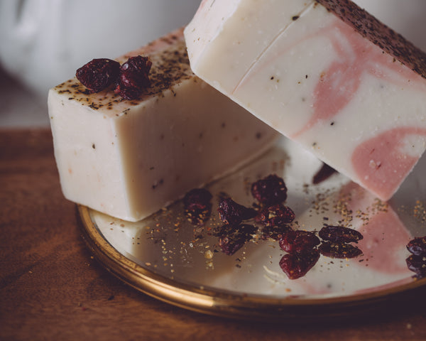 Cranberry Souffle Seasonal Organic Handmade Soap is always made from scratch. This organic soap will last 8-10 weeks in the shower. We also offer our wholesale organic soap