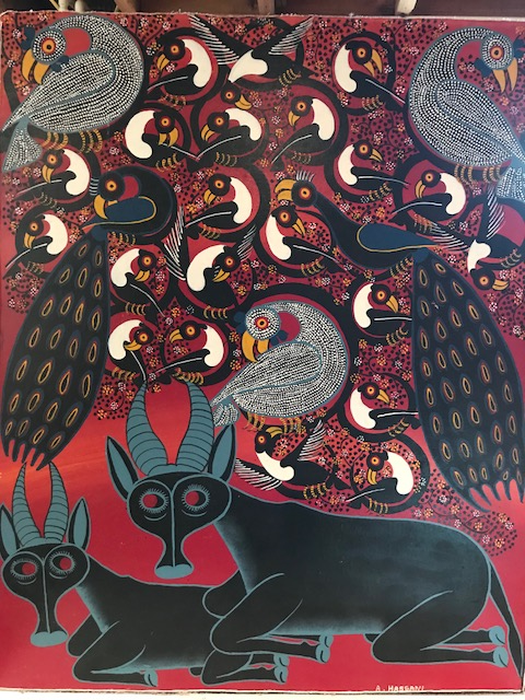 Tinga Tinga African Art handsigned by A. Hassini. This painting is by A Hassini original and one of a kind painting on heavy cloth. Painted in the 1970's the colors are still vibrant. This piece of African Art is stunning!