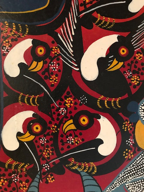 Tinga Tinga African Art handsigned by A. Hassini. This painting is by A Hassini original and one of a kind painting on heavy cloth. Painted in the 1970's the colors are still vibrant. This piece of African Art is a very large piece