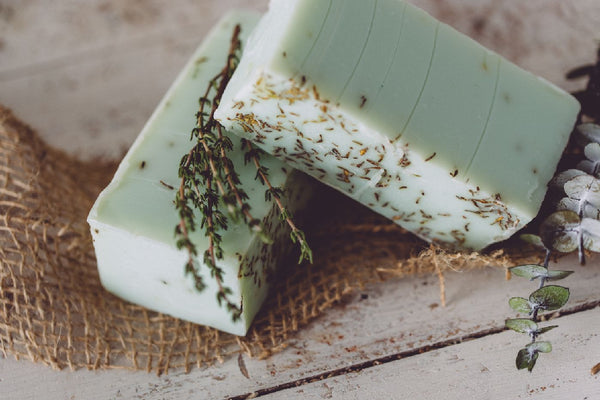 Eucalyptus Thyme Organic Handmade Soap. This natural handmade soap hydrates while it cleans. Always made from scratch. This handmade organic soap will last 8-10 weeks in the shower. We also offer our wholesale organic soap