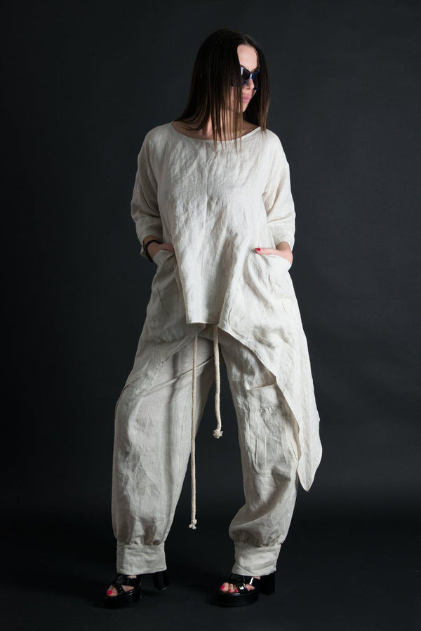 Buy Natural Linen Top and Pant Set -Size 18 Women's
