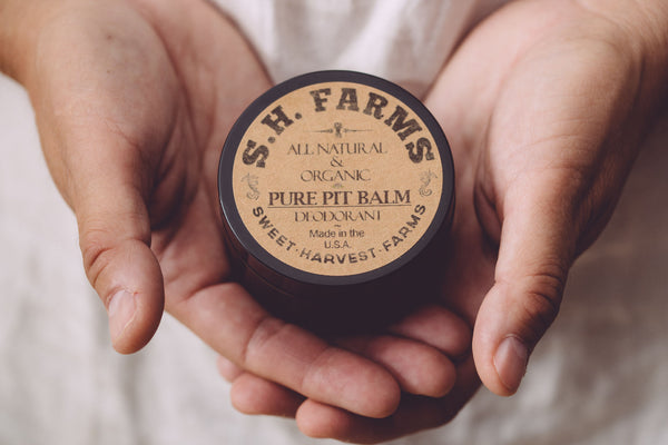 Organic deodorant that is both aluminum free and food grade. Sweet Harvest Pure Pit Balm deodorant is actually good for your skin and it works! Purchase out organic handmade deordorant and see for yourself!