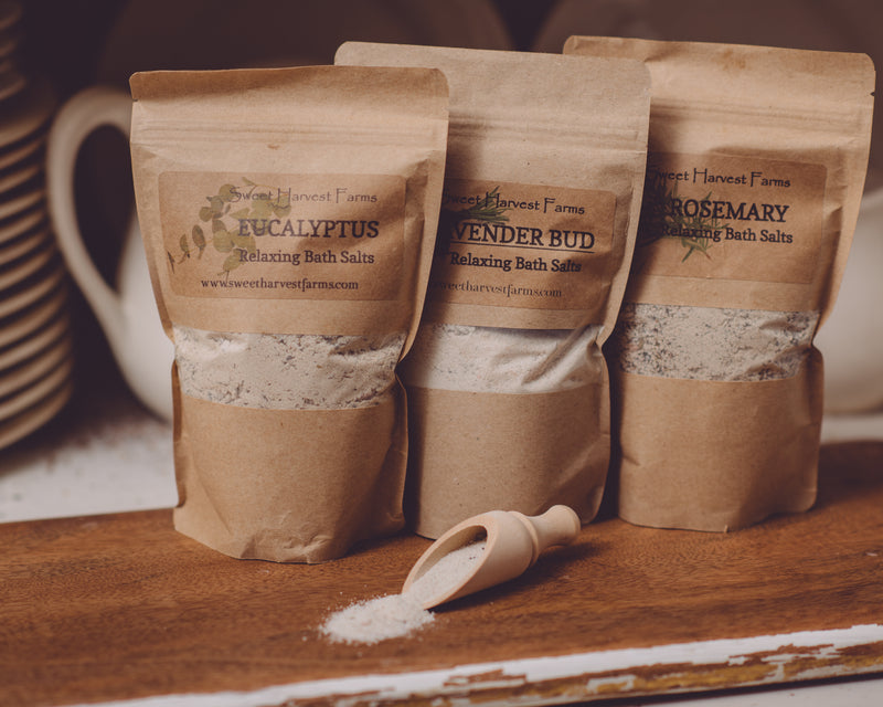 Sweet Harvest Farms all Natural Theraputic Bath Salts are made with organic salts and bentonite clay that help detox while you relax. BAth Salts are a wonderful way to release stressers that may occur during your day and soaking our bath salts can certainly help with that.