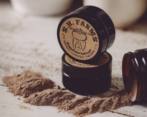 Organic Tooth Powder - Fluoride FREE! Sage to help whiten and bntonite clay to detox, this is all you will need to keep your teeth white and gums healthy! Sweet Harvest Farsm tooth powder is all you need for a clean and healthy smile!