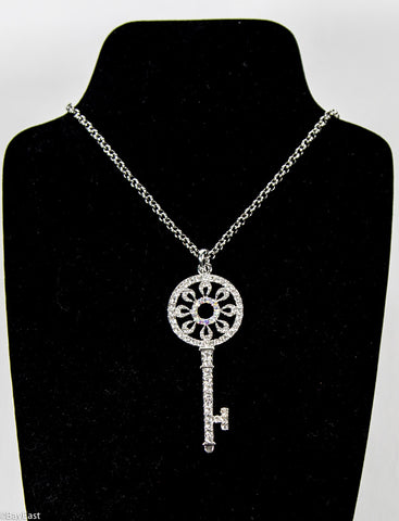 Crystal Key Necklace - Flower