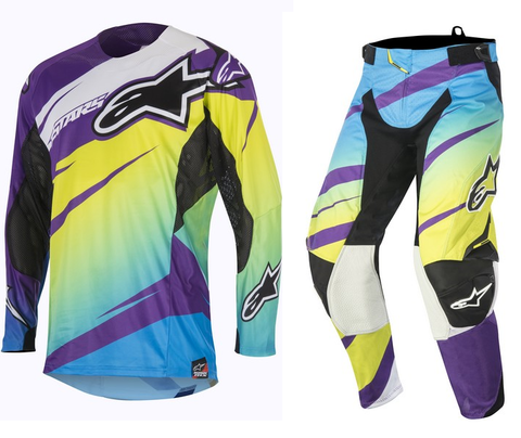 Alpinestars Techstar Venom Lime/Cyan/Purple Combo Kit
