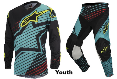 2017 Youth Alpinestars Racer Braap Combo Kit - Teal/Black/Yellow
