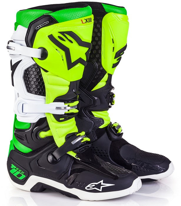 Kit Boot Alpinestars Tech 10Vegas LTD ED - - Black White Green Flo Yellow UK 10