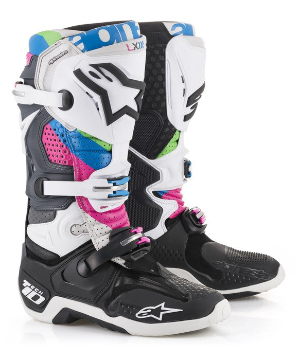 Kit Boot Alpinestars Tech 10LE Vision - - Black GreyFuchia Aqua Green UK 12
