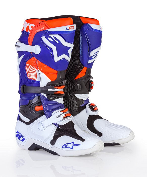Kit Boot Alpinestars Tech 10INDIANAPOLIS- - White Blue Orange UK 12
