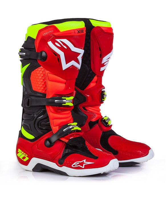 2018 Alpinestars Tech 10 Boot - Limited Edition Torch Red/Black/Flo Yellow