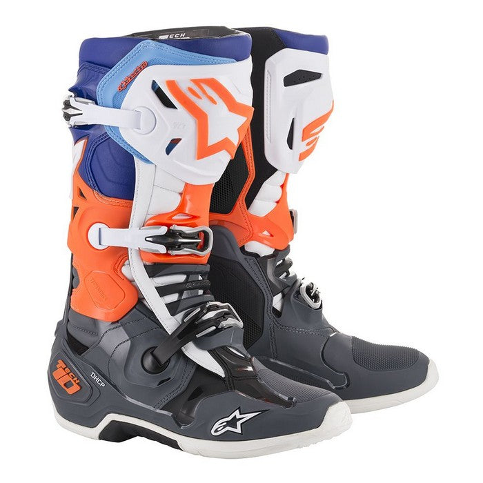 Kit Boot Alpinestars Tech 10- - Cool Grey Orange Fluo Blue White UK 14
