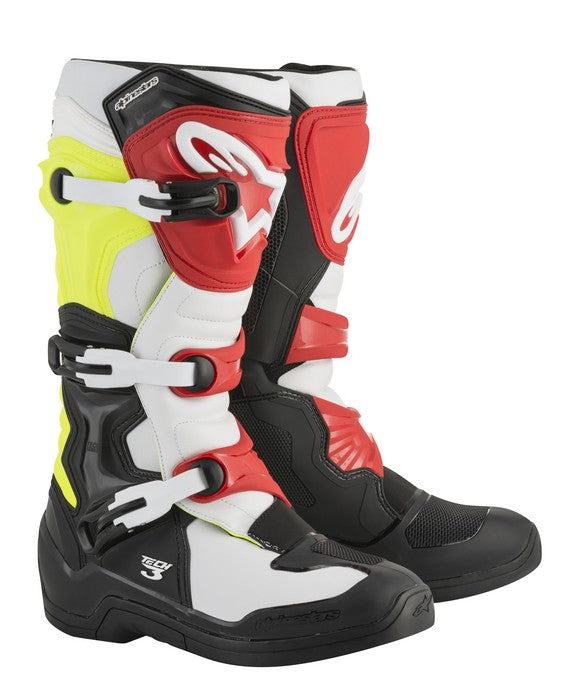 Kit Boot Alpinestars Tech 3- - Black White Yellow Flo Red UK 13
